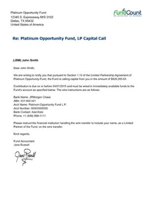 Capital Call Letter To Shareholders