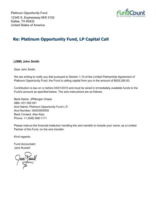 Capital Call Letter with Allocation Details Report Encyclopedia – Letter to Shareholders Example
